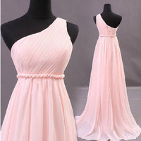 Adorable Pink A-line One-shoulder Sweep Train Prom Dress