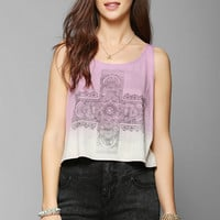 Cea + Jae Lace Cross Dip Cropped Tank Top - Urban Outfitters