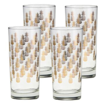 Culver Gold 22k 15-Ounce Cooler Glass Set of 4 (Pineapples)