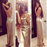 2016 Sparkly Gold Sequins Prom Dresses Sexy V Neck Cross Back Long Prom Gowns Formal Evening Party Dresses Custom Made