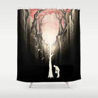 Revenge of the nature II: growing red forest above the city. Shower Curtain by Rafapasta