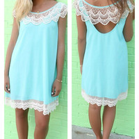 Peter Island Sea Foam Lace Hem Shift Dress