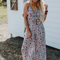 Perfect Day Floral Jumpsuit - Gray