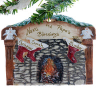 Fireplace with personalized stockings family of 3 Christmas ornament - fireplace mantel personalized along with 3 stockings personalized