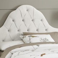 High Arc Tufted Headboard w Foam Padding in Velvet White