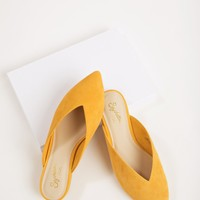 Seychelles Quintessential Mustard Suede Mule