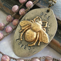 Bee necklace crochet jewelry - Bee Loved - spring orchic pink necklace boho jewelry vintage inspired silver eco chic, spoon pendant soldered