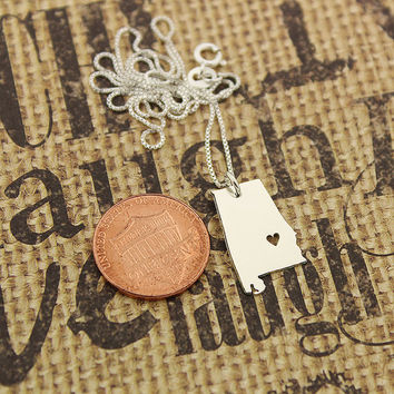 Alabama State necklace Alabama necklace sterling silver Alabama state necklace pendant with heart comes with Box style chain