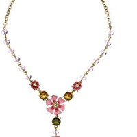 "Betsey Johnson ""Spring Glam"" Flower Y-Shaped Necklace, 19"""