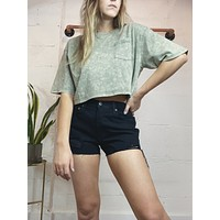 Mineral Wash Pocket Tee - Smog Green