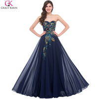Sweetheart Peacock Navy Blue Purple Black Bridesmaid Dresses Elegant Long Grace Karin Appliques Chiffon Formal Gowns Party Dress