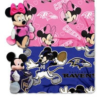 Baltimore Ravens NFL Mickey and Minnie Mouse Throw Combo