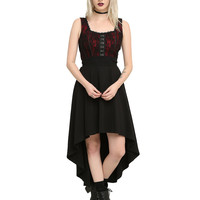 Royal Bones By Tripp Burgundy & Black Corset Hi-Lo Dress
