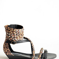 Leopard Tyran Sandals By Lovely People - $64.00: ThreadSence, Women's Indie & Bohemian Clothing, Dresses, & Accessories