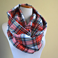 Plaid scarf,  Red winter Scarf, Plaid flannel scarf