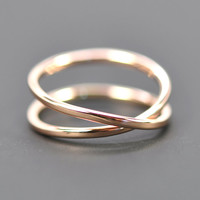 14K Rose Gold Infinity Ring, Alternative Wedding Band, Romantic Gift, Sea Babe Jewelry