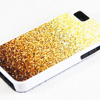 Stylish Golden Glitter iPhone 5 + 4S + 4 + 5C + 5S Tough Rubber and Soft Case, iPod 5 + 4 Case