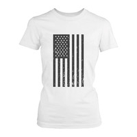Women's Vintage American Flag Fourth of July T-shirt Casual July 4th shirt