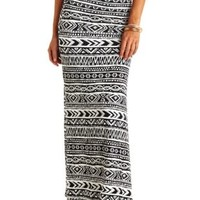 Double Slit Tribal Print Maxi Skirt by Charlotte Russe - Black/White