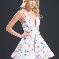 Flower Painting Cut-Out Skater Dress GoJane.com