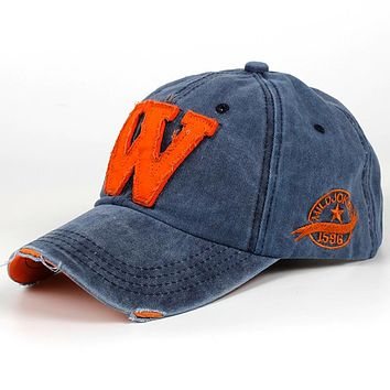 Cotton Letter W Baseball Cap Retro Outdoor Sports Caps Women Bone Gorras Curved Fitted Washed Vintage Dad Hats For men Women