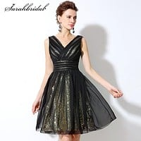 Black Simple Formal Cocktail Party Dresses Tulle Knee-Length Sleeveless A-Line V-Neck Prom Gowns Backless Sequins Hot Sale SD248