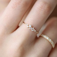 Crystal Simple Ring Zirconia Simple Rings for Women Anti Allergies  wedding rings   4.23