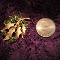 Gold Tone Leaf Brooch Pin With Emerald Tone Rhinestones, Green Rhinestone Brooches, Coupon Code SPRINGFEVER 20 PCT 15.00 Min
