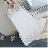 Pengpious hollow out lace patchwork chiffon pleated maternity dress loose thin princess white dress pregnant women lovely dress