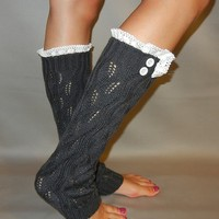 Charcoal Grey Knit Leg Warmer with Lace and Button Detail