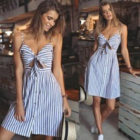 Stripes Wrap Beach Vacation Dress One Piece Dress [9788322061]