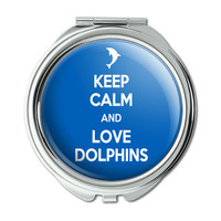 Keep Calm And Love Dolphins Compact Purse Mirror