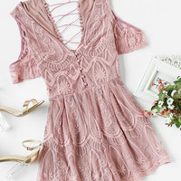 Crisscross Back Embroidered Mesh Overlay Plunging Playsuit -SheIn(Sheinside)