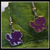 Little Purple Cat Enamel Charm Earrings - school spirit earrings - mascot earrings - teen jewelry