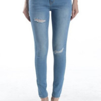 "30"" Inseam Knee Cut Distressed Ankle Skinny Jeans"