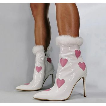 Women Pink Heart Print Patent Leather High Heel Ankle Boots