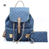 LV Fashion Men's and Women's Backpacks Jeans Printed Shoulder Bags #1