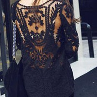 Semi Sheer Sleeve Embroidery Lace Crochet Tee Shirt Top from allooks