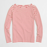 Factory long-sleeve striped boatneck tee