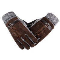 High Quality Winter Thick Fleece Warm Leather Gloves For Men