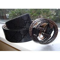 Men's Gucci Black Leather Belt w/ Gold GG Snake Buckle Size 42 / 105 cm
