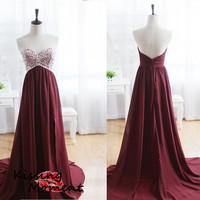 Stunning hot sale A-line Long prom dresses, Burgandy Chiffon Backless A-line Beading Prom dresses, Discount New Formal Evening dresses, 9146