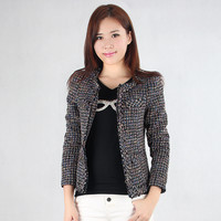 New 2016 spring new small fragrant wind tweed plaid jacket body ladies temperament Slim high quality coat for women