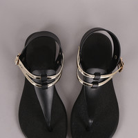 Two Tone Jelly T-Strap Thong Flat Sandal 5 Colors
