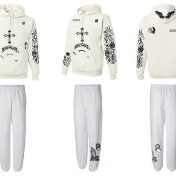 Justin Bieber full body tattoo hoodie sweatpants outfit white
