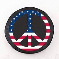 USA Peace Sign Color Logo Exact Fit Black Vinyl Spare Tire Cover