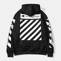 OFF WHITE x Champion joint autumn and winter new men's hooded pullover sweater Black