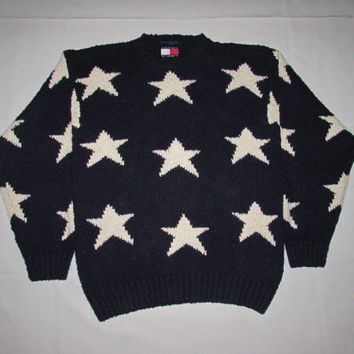 Vintage 90's Tommy Hilfiger Stars All Over Print Sweater Size Large