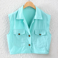 Turquoise Cropped Sleeveless Shirt