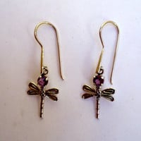 Sterling drop earrings with dragonfly and amethyst on sterling wires.